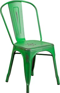 Flash Furniture Commercial Grade Distressed Green Metal Indoor-Outdoor Stackable Chair