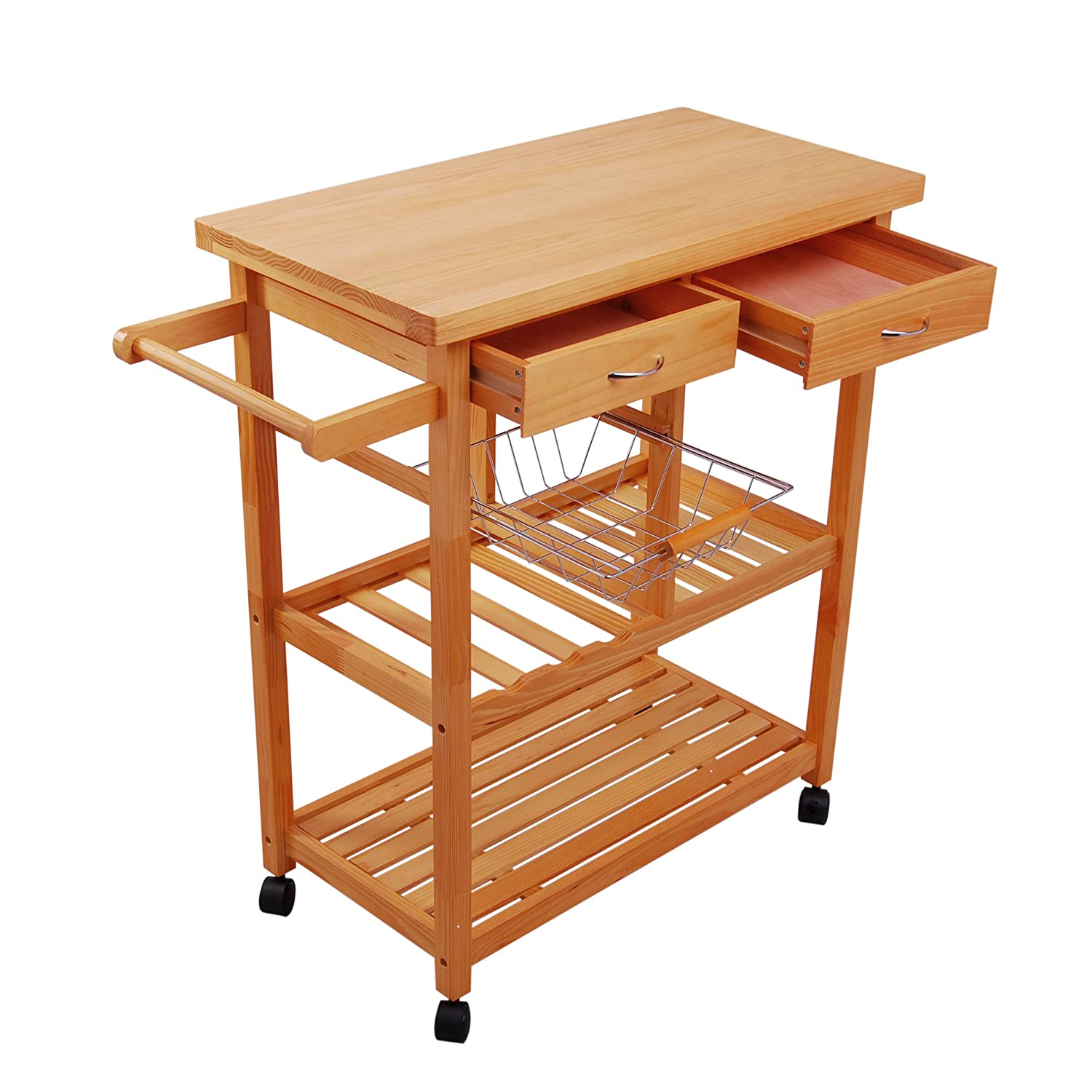 HOMCOM Rolling Kitchen Trolley Portable Kitchen Serving Cart with Drawers Basket and Shelves Aosom Canada