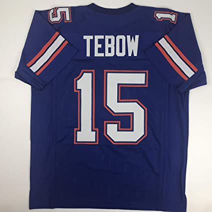 d895eec71 Image Unavailable. Image not available for. Color  Unsigned Tim Tebow  Florida Blue Custom Stitched College Football Jersey Size ...