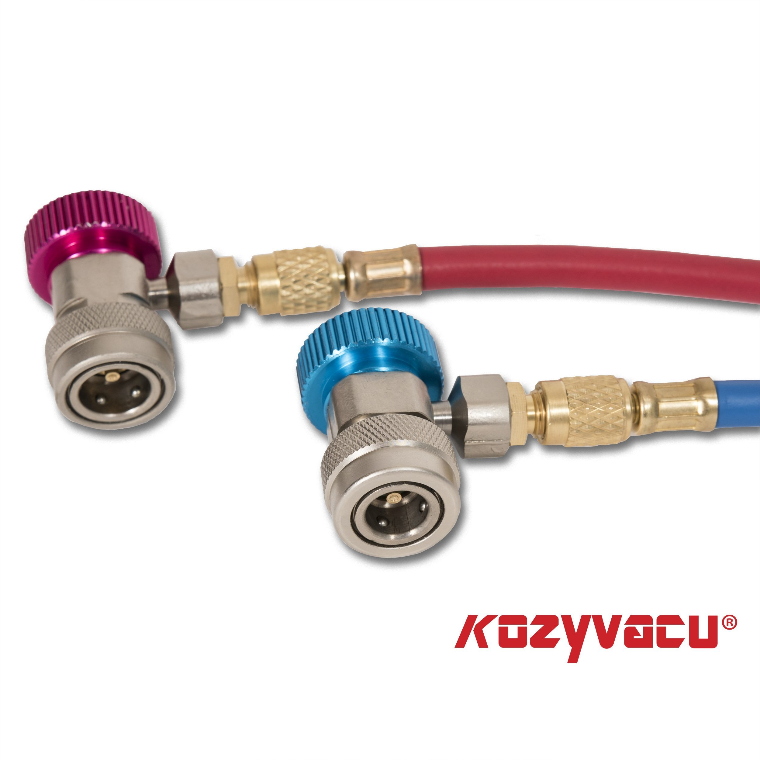Kozyvacu Adjustable R134A Adapter Fittings Quick Coupler High Low AC Freon Manifold Gauge Hose Conversion kit, 1/4'' SAE HVAC by Kozyvacu (Image #4)