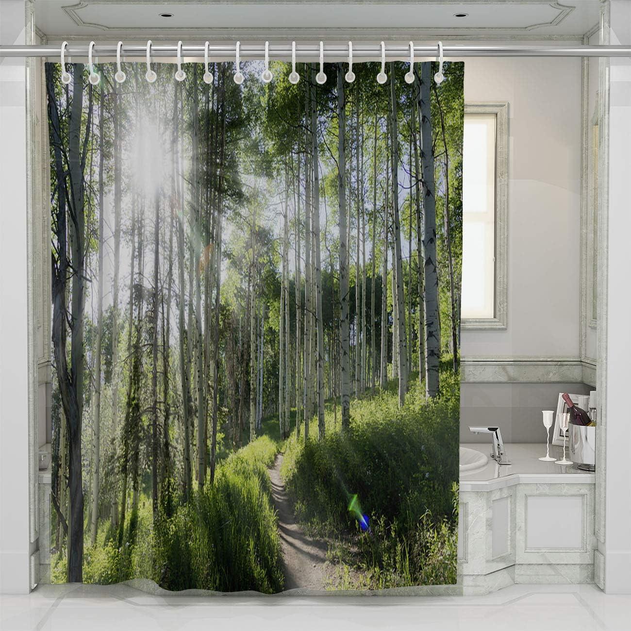 BEISISS Mountain Shower Curtain,Beautiful Mountain Hiking Trail Through Aspen Trees of Vail Colorado,Photo Art Fabric Bathroom Decor Set with Hooks