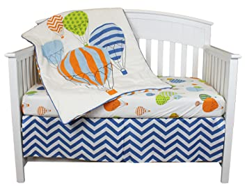 Amazoncom Hot Air Balloon 3 Piece 100 Cotton Crib Bedding Set By