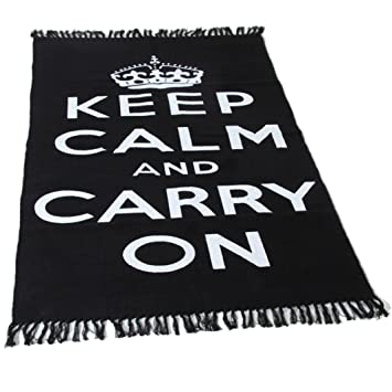 Teppich läufer schwarz weiß  Homescapes Trendiger Keep Calm and Carry on Teppich Läufer 60 x ...