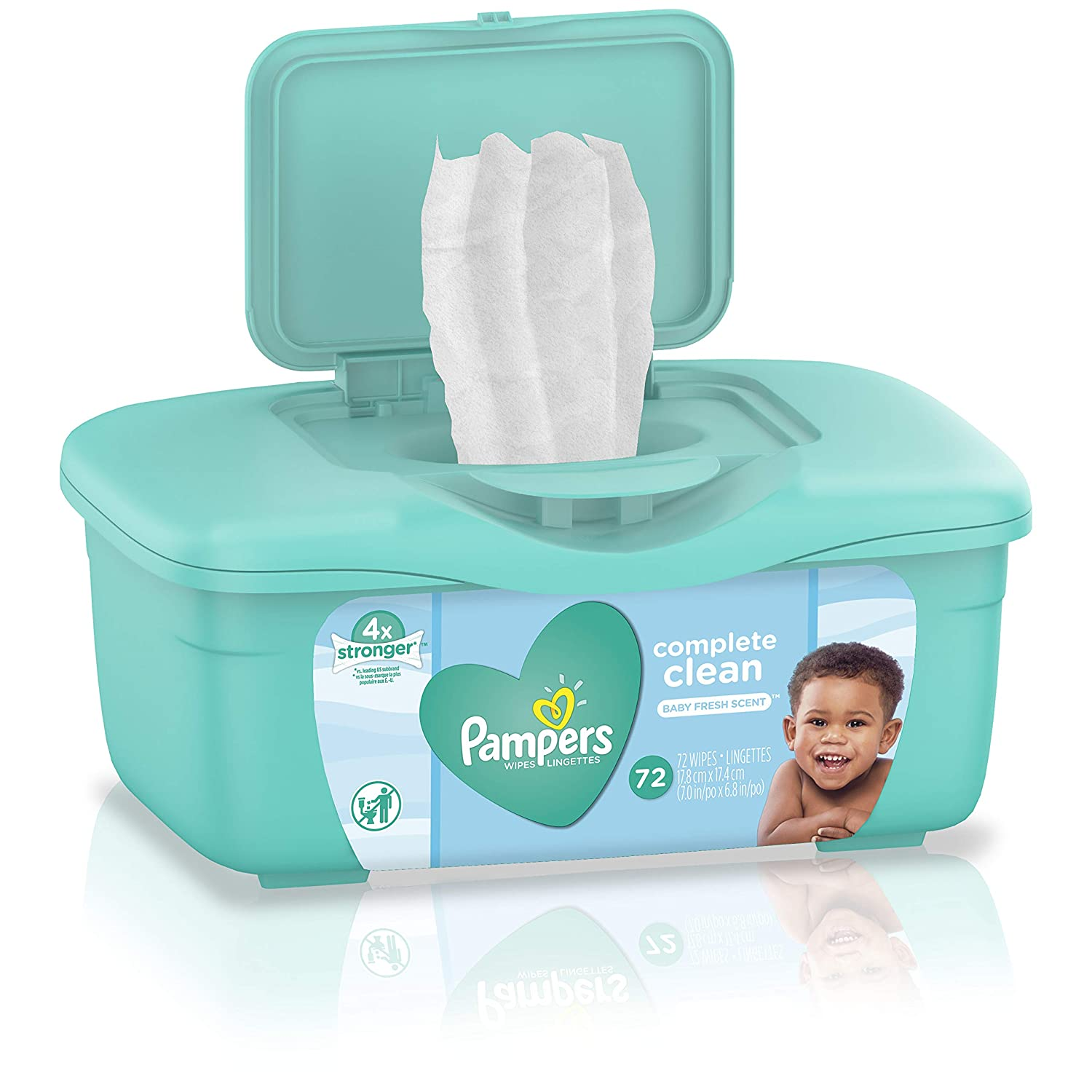 Pampers Baby Wipes Complete Clean Scented Tub, 72 ct (Pack of 8)