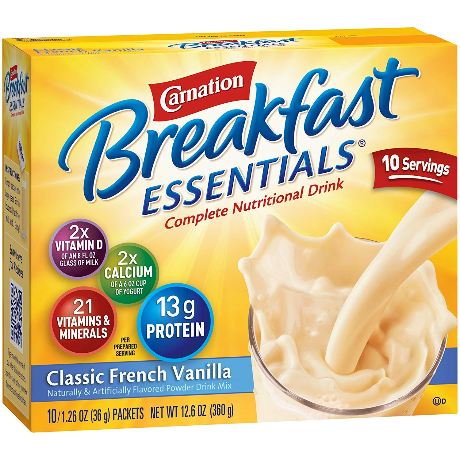 Carnation Breakfast Essentials Instant Complete Nutritional Drink, Classic French Vanilla, 12.6 OZ (Pack - 6)