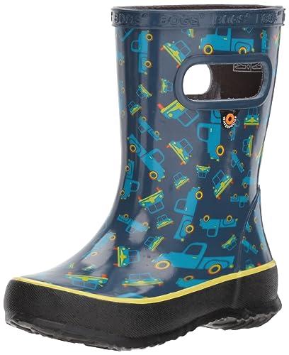39c5073593 Bogs Kids' Skipper Waterproof Rubber Rain Boot for Boys and Girls