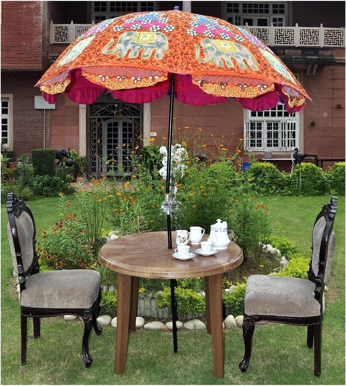 Indian Elephant Garden Parasol Large Outdoor Home Sun Shade Cotton Sun Umbrella