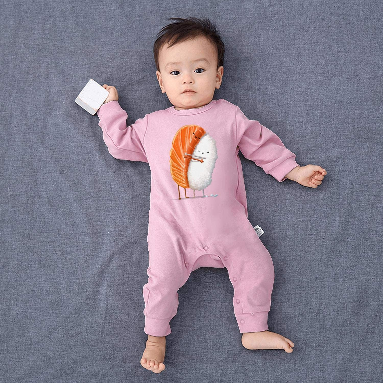 SJKSDVHF Funny Sushi Meat Hug Rice Baby Boys Girls Long Sleeve Baby Onesie Jumpsuits
