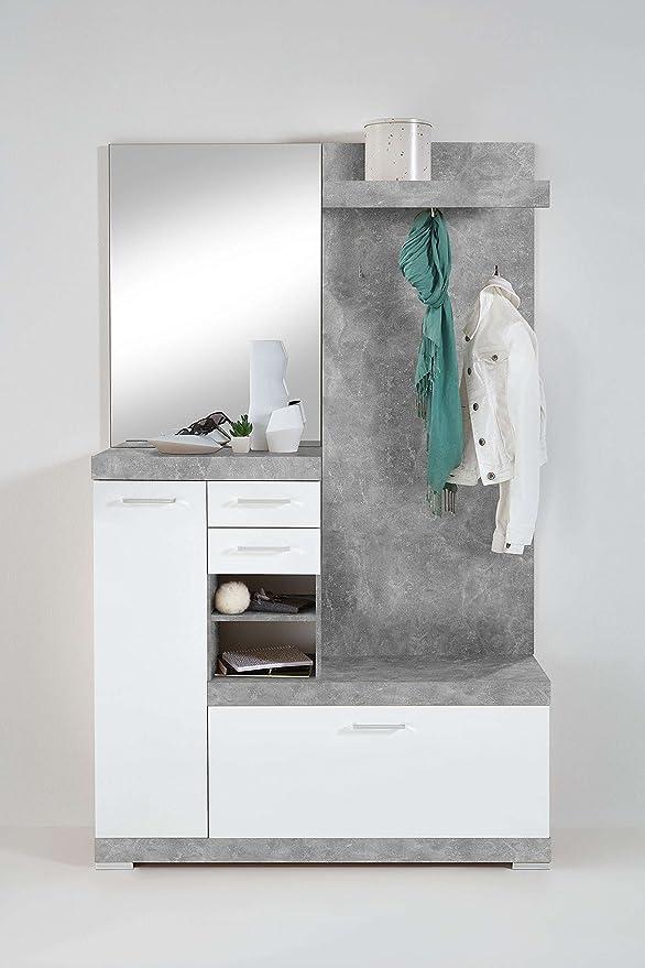 Disponibile in 2 Diversi Colori Guardaroba Completo in Legno Laminato con Ante in Bianco Lucido Bristo AVANTI TRENDSTORE Dimensioni: Lap 120x193,5x35,5 cm