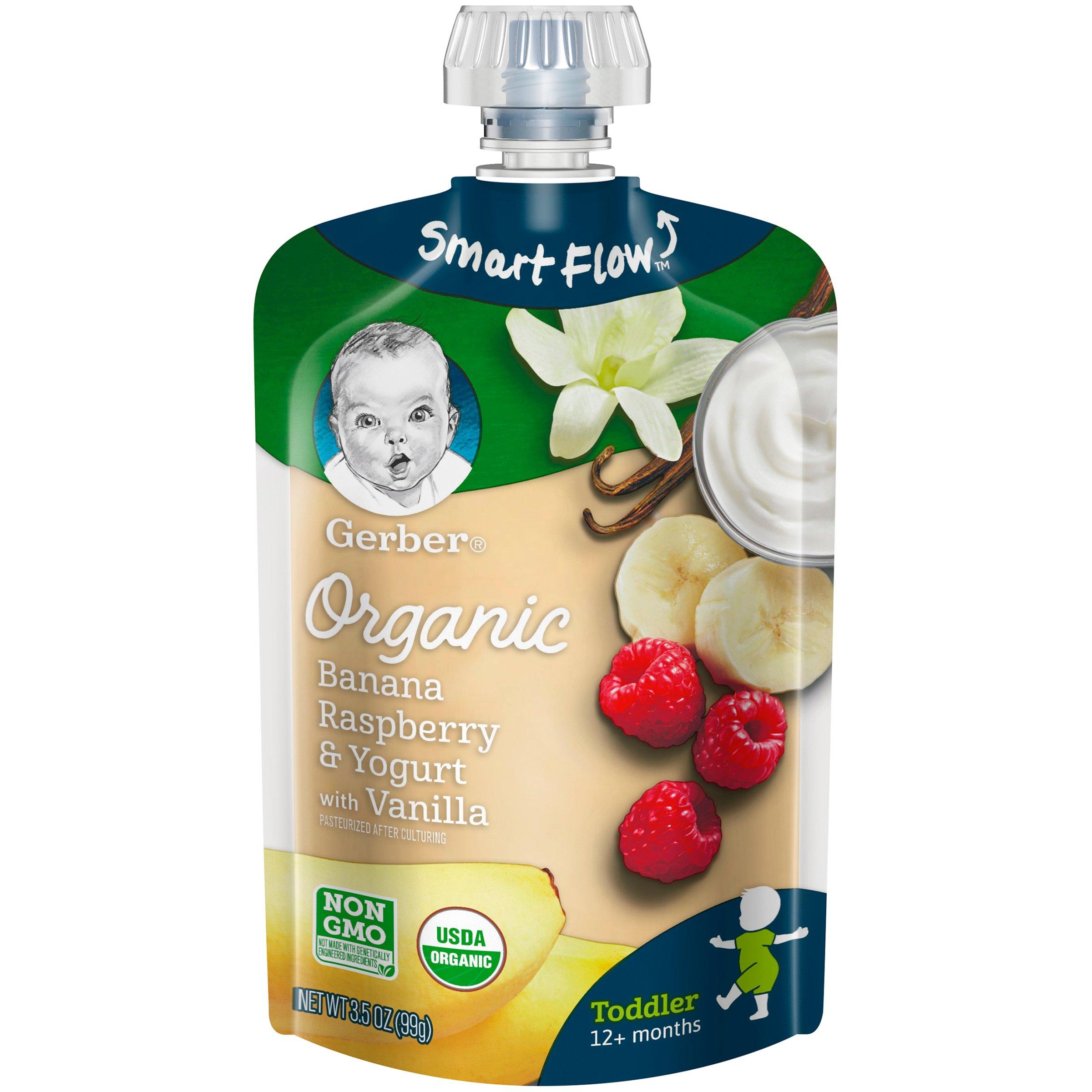 Gerber Purees Organic Banana Raspberry Yogurt Vanilla Toddler Pouch, 3.5 Ounces (Pack of 12) by GERBER