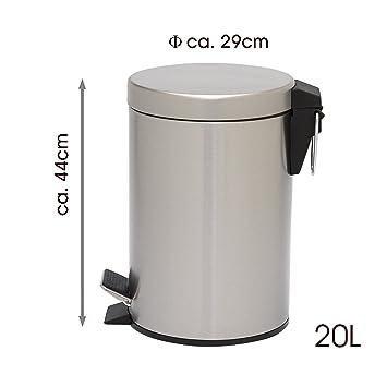 Mack Edelstahl Mülleimer Treteimer Abfalleimer Küche mit Absenkautomatik I  Runde Form, 20 Liter