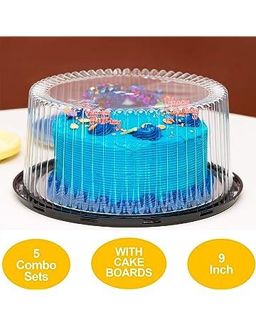 Caja de Pastel de plástico recipiente con asa de almacenamiento Portador Tapa De Cierre Redondo Cuadrado