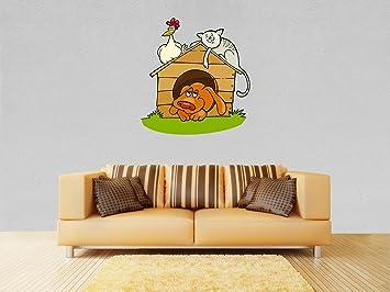wandmotiv24 Adhesivos de Pared Caseta de Perro con el Gato y Pollo Adhesivos de Pared L - Grande 90x96cm: Amazon.es: Hogar