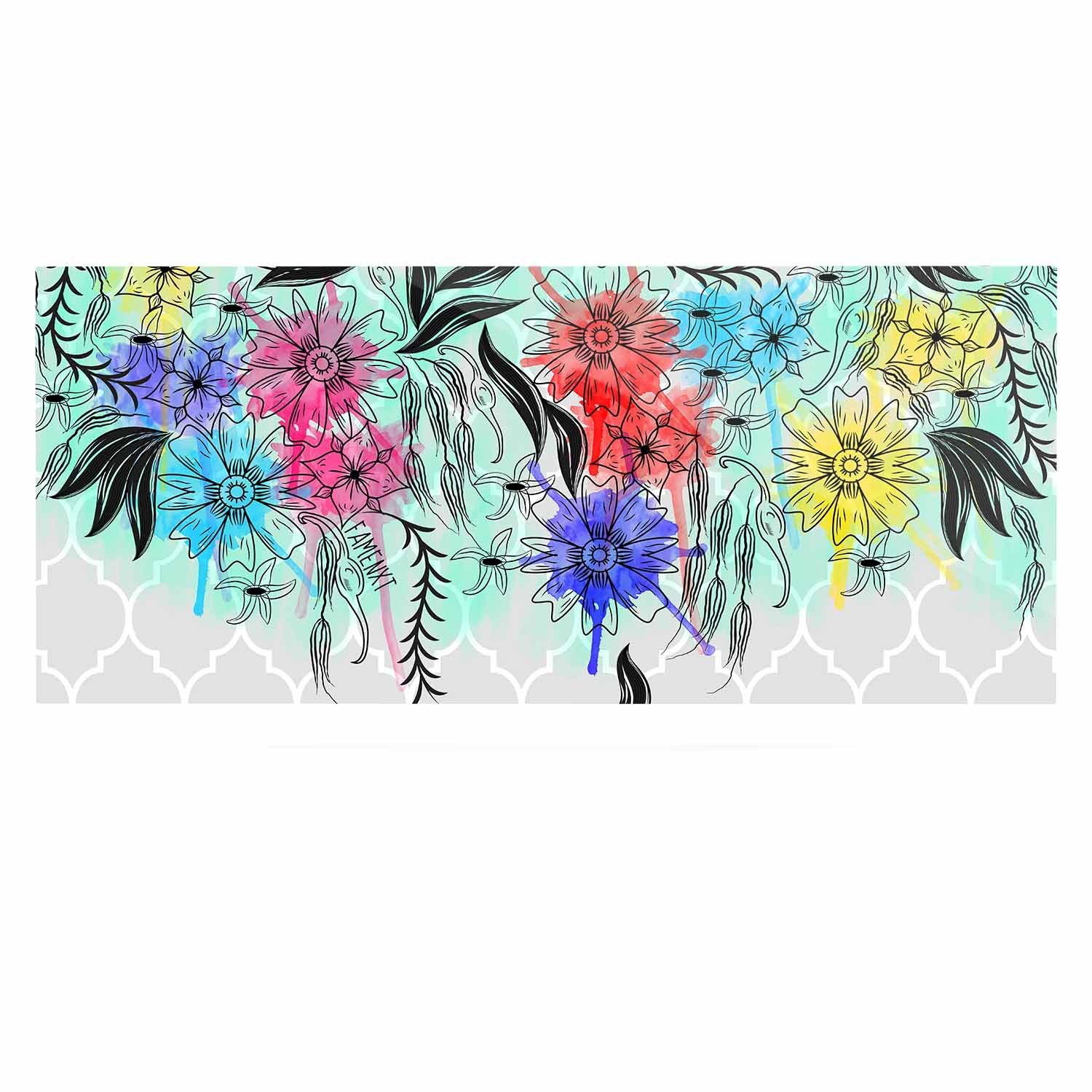 24 x 36 Kess InHouse Famenxt Watercolor Spring Gray Floral Luxe Rectangle Panel