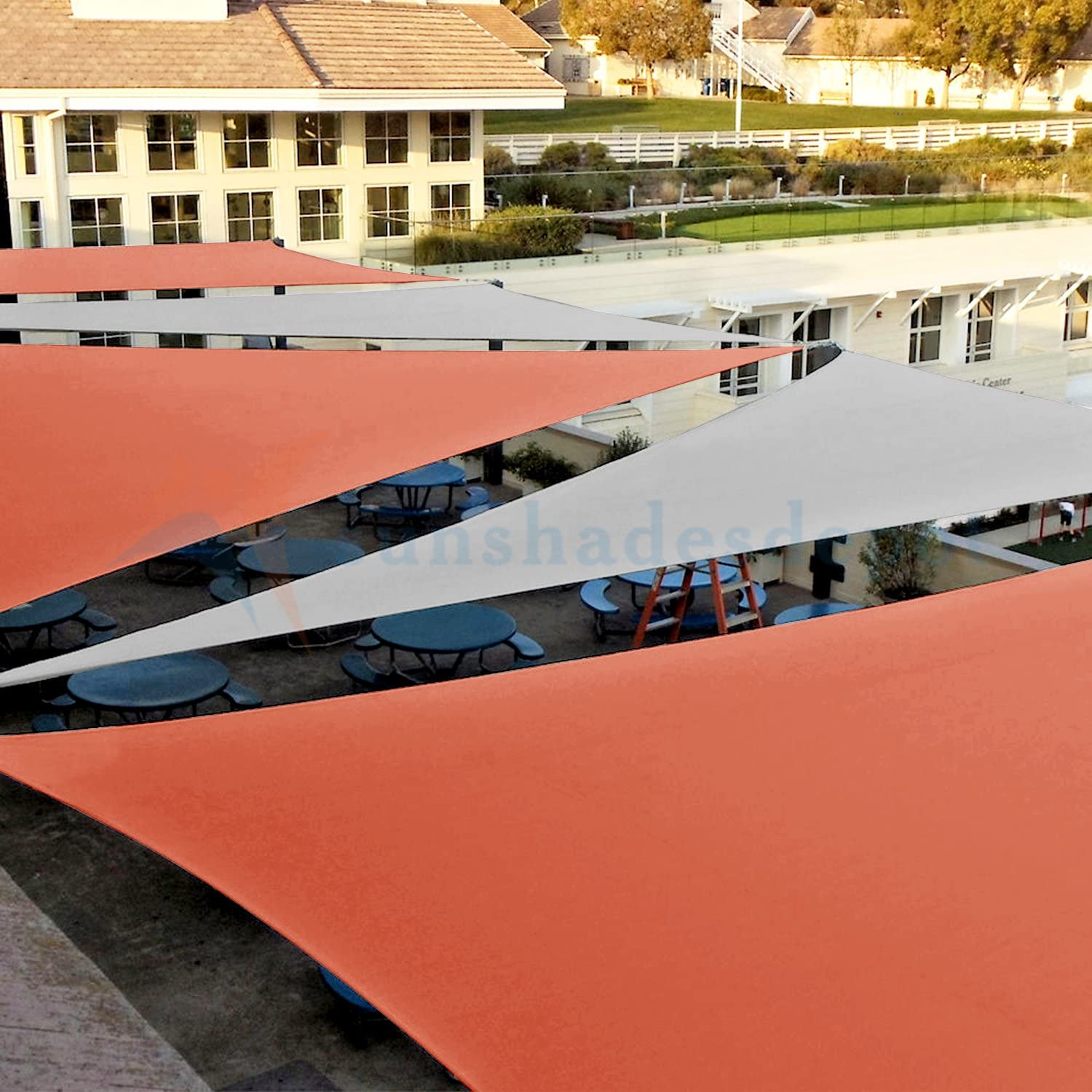 TANG Sunshades Depot Sun Shade Sail Right Triangle Permeable Canopy Custom Commercial Standard Orange 5x5x7 180 GSM