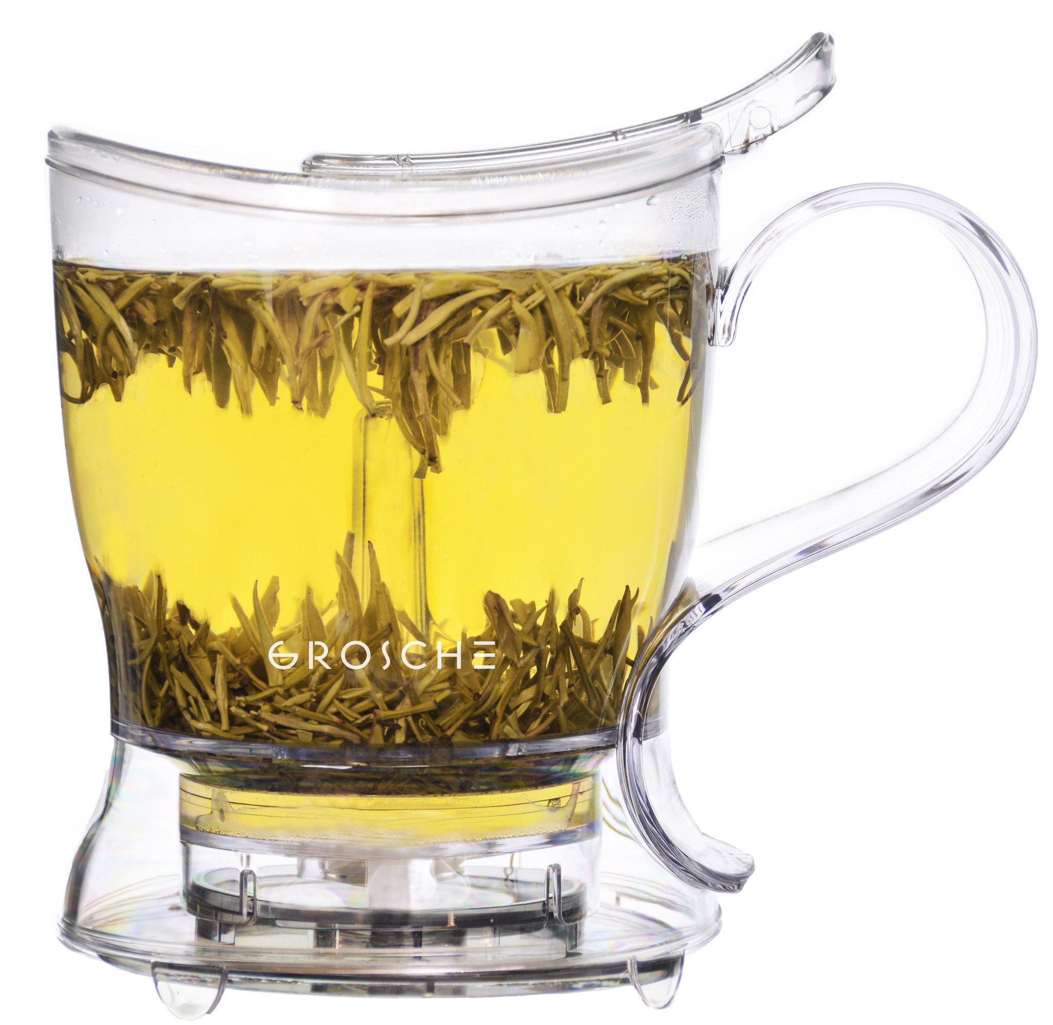 GROSCHE Aberdeen PERFECT TEA MAKER set with coaster, Tea Steeper, Teapot, Tea Infuser, 17.7 oz. 525 ml, EASY CLEAN Steeper, BPA-Free, NO DRIPS!