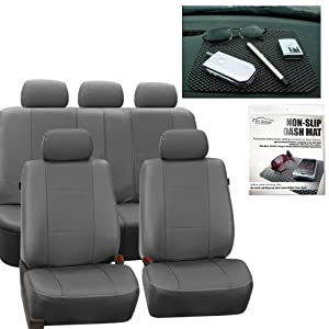 FH Group PU007115 Deluxe Leatherette Full Set Solid Gray Car Seat Covers, Airbag Ready and Split with FH1002 Non-slip Dash Grip Pad- Fit Most Car, Truck, Suv, or Van