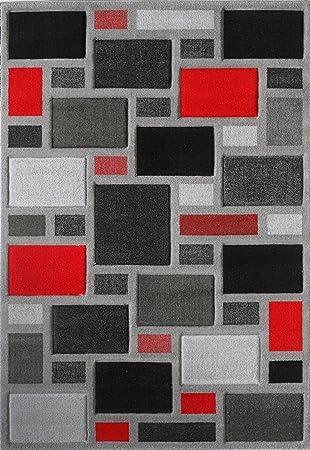 Gris Argenté Rouge Et Noir Géométrique Tapis De Salon Pour Maison Meubles,  Accessoires De Sol