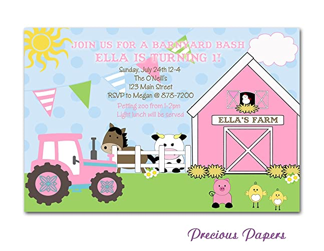 amazon com digital girls farm invitation diy girls pink tractor