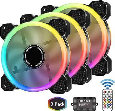 EZDIY-FAB Ventilador inalámbrico RGB LED de 120 mm, edición ...