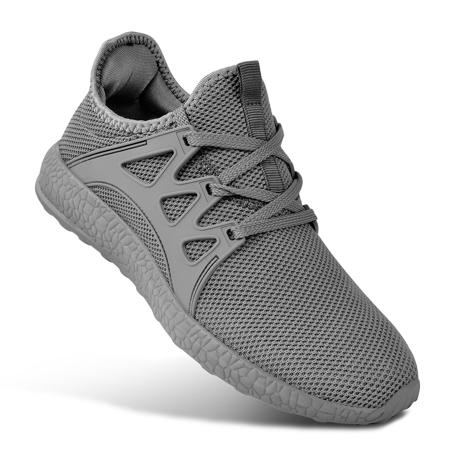 MARSVOVO Ultra Light Mens Sneakers Summer Mesh Breathable Sports Shoes Men Jogging Shoes Adults Grey Size 8