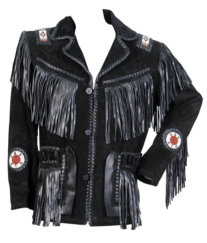 Beads and Fringes Jacket SleekHides Mens Cowboy Real Leather Bones