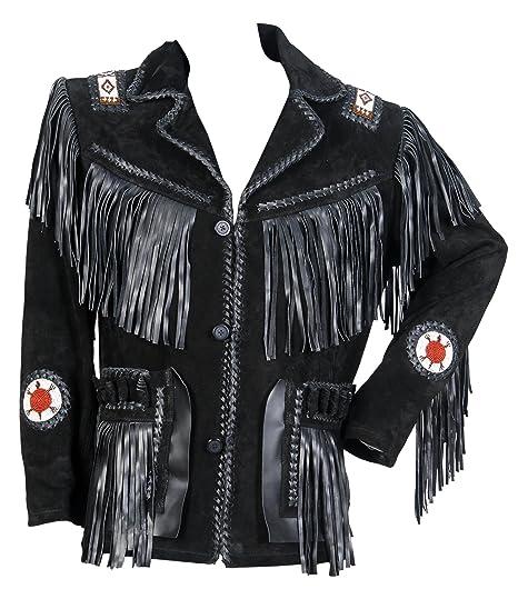 Classyak pour Homme Western Manteau en Daim avec Franges, Perles et os   Amazon.fr  Vêtements et accessoires 732185a0a4e1
