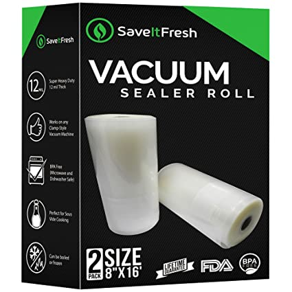 Amazon vacuum sealer rolls 8x16 set of 2 12 mil thick vacuum sealer rolls 8x16 set of 2 12 mil thick fandeluxe Image collections