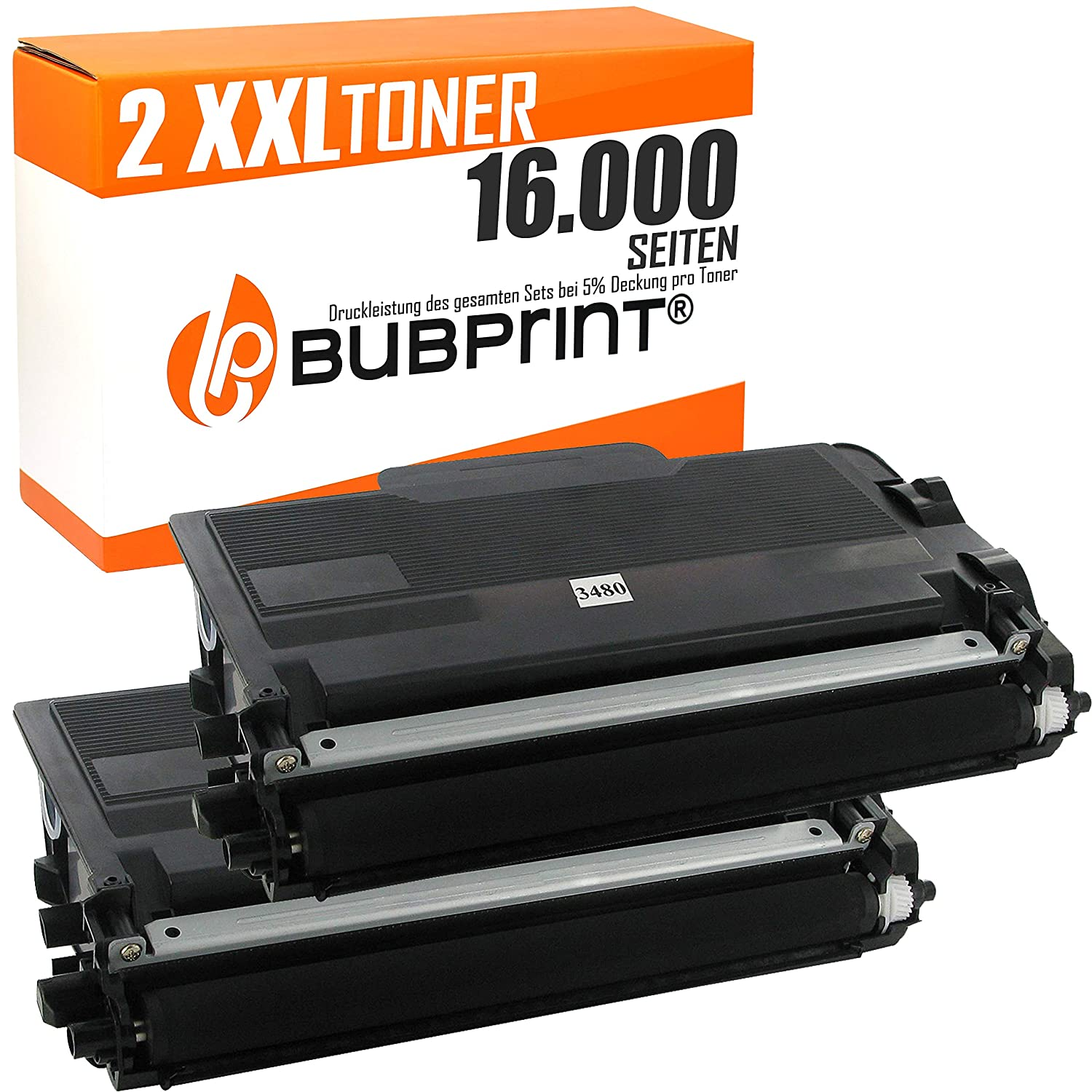Bubprint 2 Toner Compatible con Brother tn-3480 hl-l5100dn hl ...