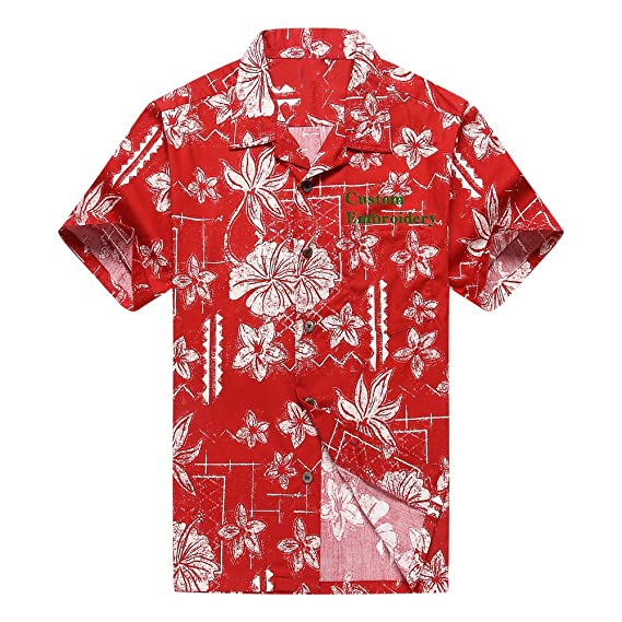 9ff77ab20b5 Men s Hawaiian Custom Emboridery Shirt Aloha Shirt Luau Shirt 2XL Vintage  Red Hibiscus