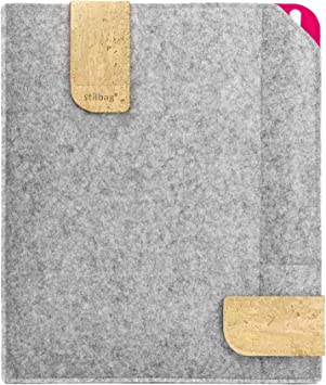 Bolsa de fieltro Stilbag para Apple iPad (2019) | Estuche de fieltro de lana Merino y corcho con compartimento Pencil | Modelo KUNO en gris claro: Amazon.es: Electrónica