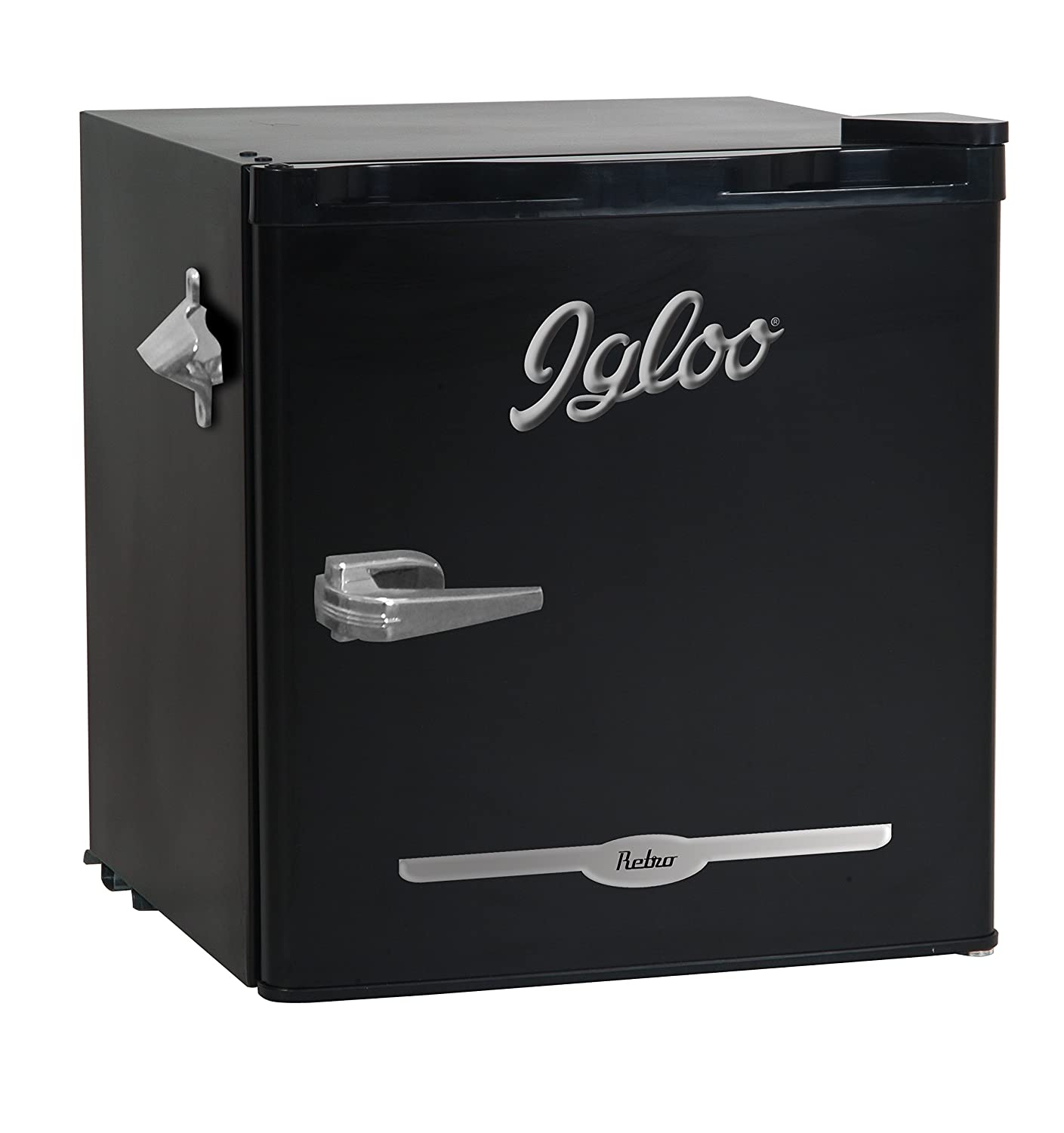 Igloo FR176-BLACK 1.6 cu. ft. Retro Bar Fridge with Side Bottle Opener, Black