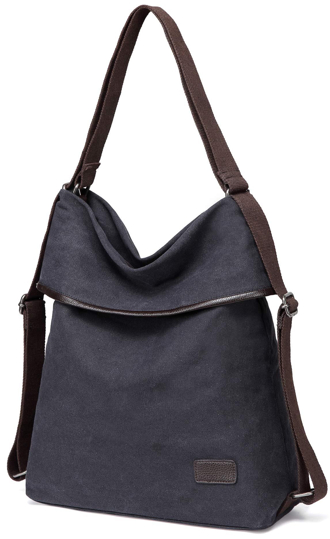 f432d0b07 Galleon - Womens Shoulder Bag Canvas Multifunctional Backpack Purse Rucksack  Convertible Bag Crossbody Casual Tote Handbag (Black-D289)