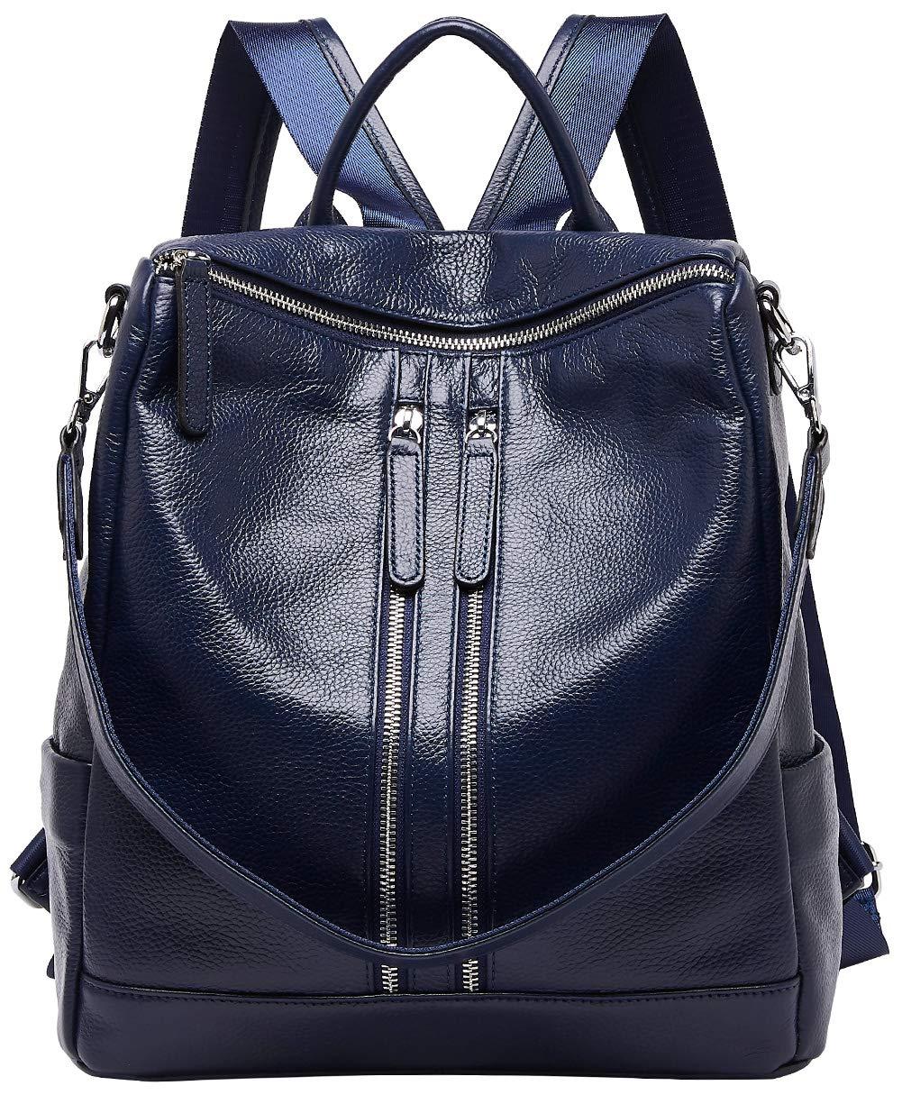 BOYATU Convertible Real Leather Backpack Purse for Women Travel Bag Fashion School Bag (Black-02) 71752