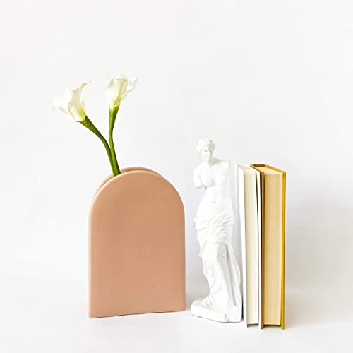 Rhapsody Studio Ceramic Vases for Flowers, Tall Peach Vase, Living Room Decor, Home Office D cor, Kitchen Decorations Wall, Planter for Artificial Succulents, Modern, Gift for Friend and Family