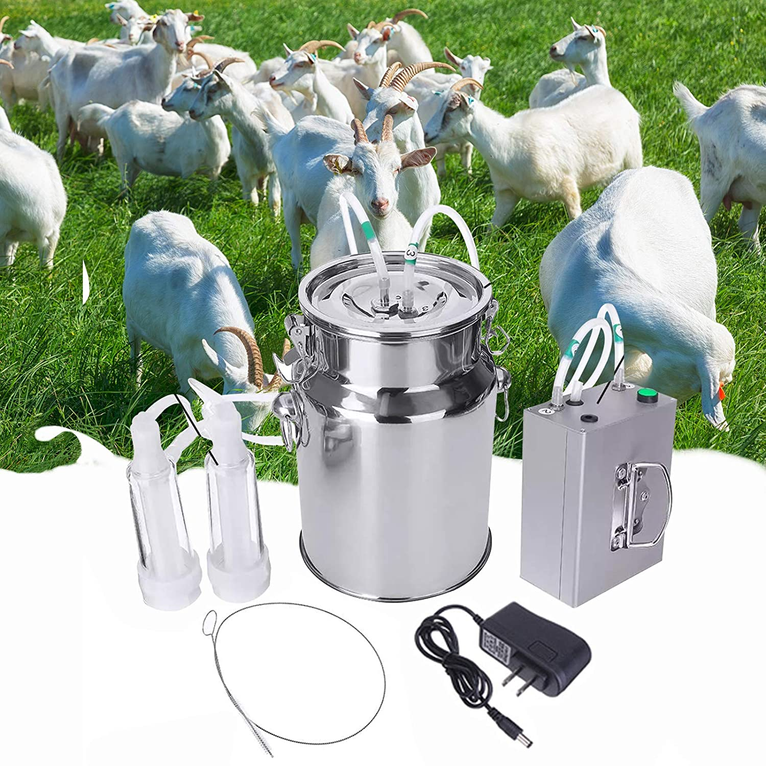 KECOP Goat Milking Machine 7L Electric Vacuum Pulsation Suction Pump Milker Machine Auto-Stop Device for Cow Goat Sheep Livestock Household Farm Stainless Steel Food Grade Bucket Milking Device