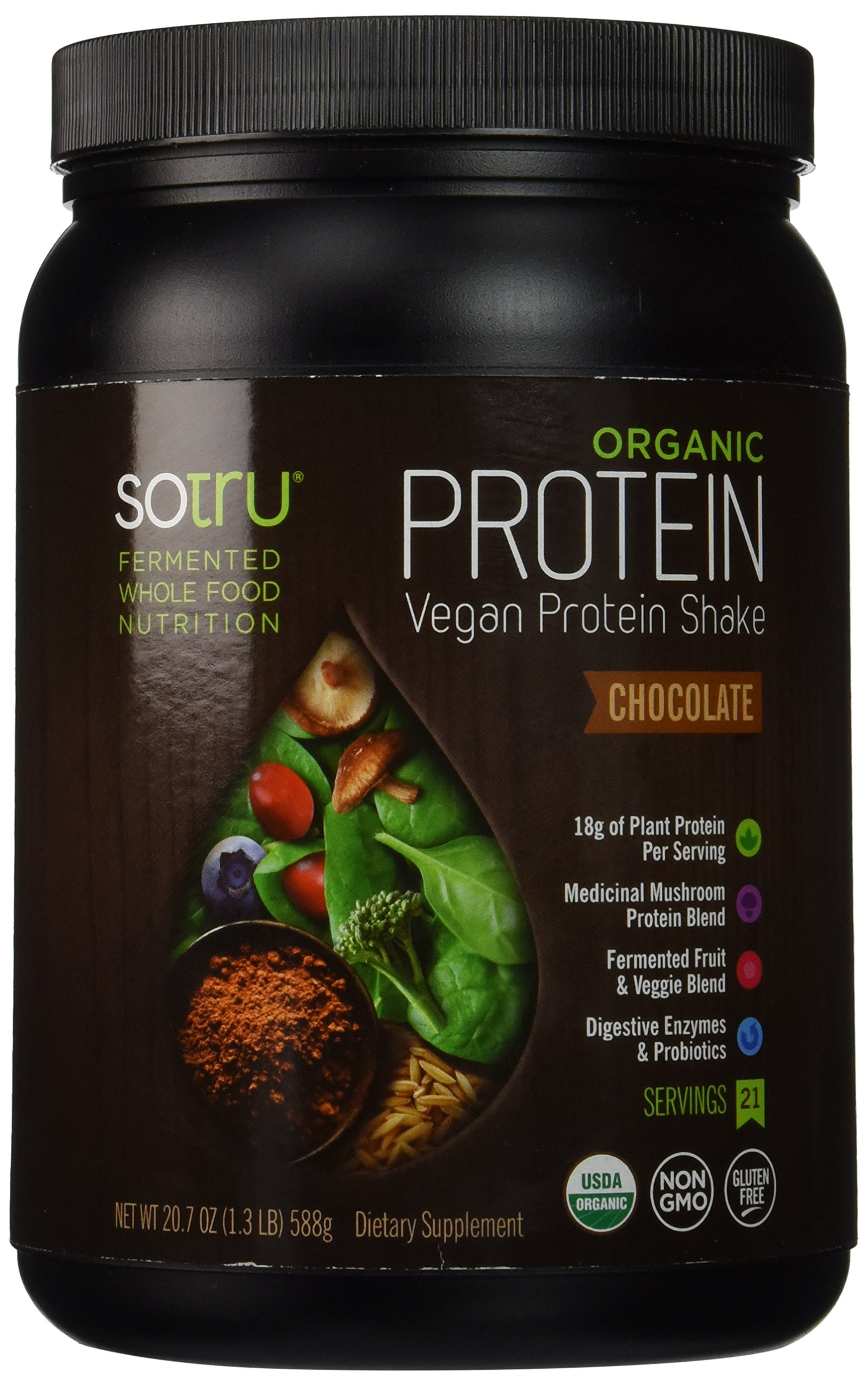 SoTru Vegan Protein Shake Chocolate - 588 Grams - Whole Food Plant-Based Powder with Green Superfoods, Enzymes & Probiotics - USDA Certified Organic, Non-GMO, Gluten-Free - 21 Servings