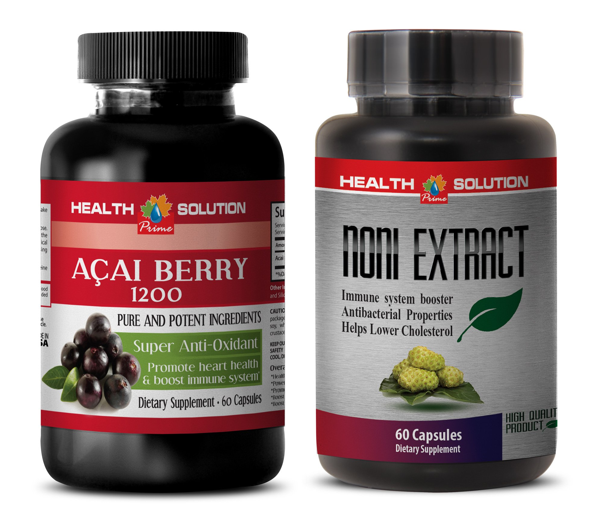 energy supplement all natural - ACAI BERRY - NONI - acai oil organic - 2 Bottles Combo 120 Capsules