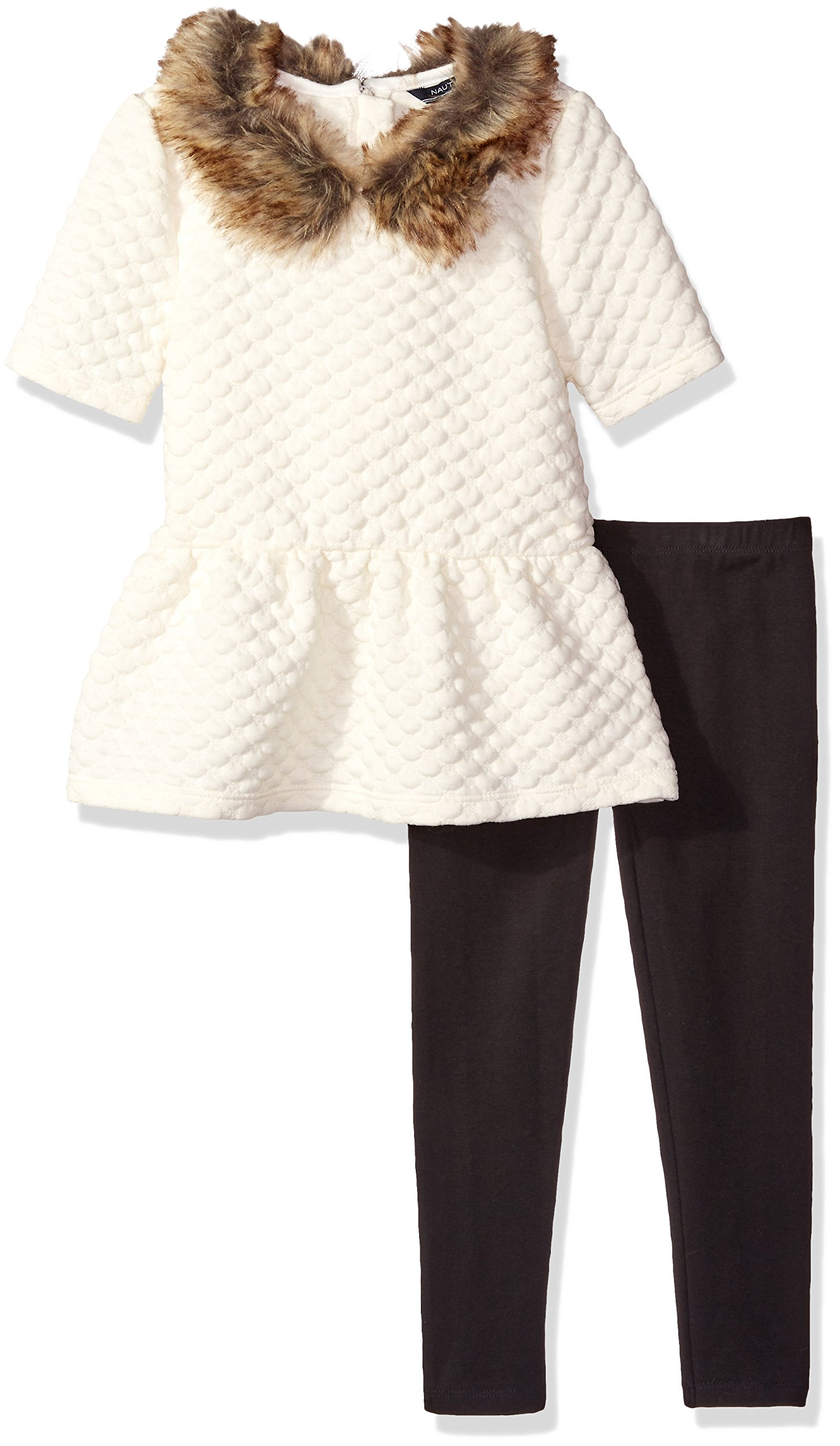 Nautica Little Girls Knit Top With Removable Faux Fur Collar and Legging Set, Cream, 4