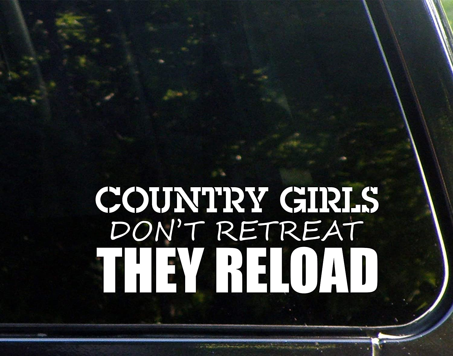 "Diamond Graphics Country Girls Don't Retreat They Reload (9"" x 3-1/4"") Die Cut Decal Bumper Sticker for Windows, Cars, Trucks, Laptops, Etc."