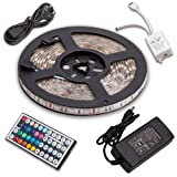 SENDIS Kit de Ruban à LED 5m / 60W, 300 LEDs multicolores 5050 RGB SMD Etanche + Adapteur + Alimentation + télécommande à infrarouge 44 touches