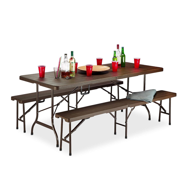 Relaxdays Bierzeltgarnitur Holzoptik, 3er Set, Bierbänke & Klapptisch, Griff, Maserung, wetterfest, Kunststoff, braun