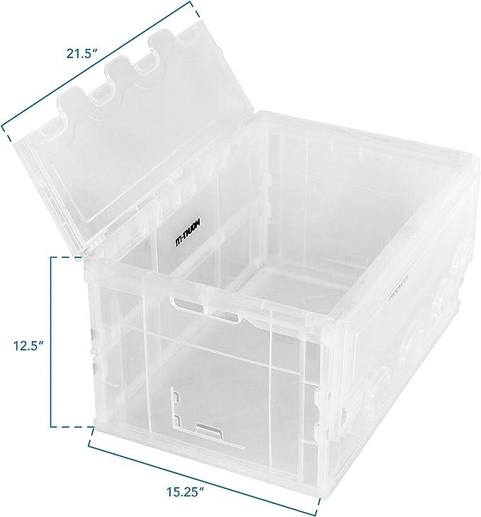 Mount-It! Plástico Plegable Caja de Almacenamiento, Plegable Distribución de Utilidad Recipiente con Tapa Adjunta, 65L Litros Capacidad, Claro: Amazon.es: Bricolaje y herramientas
