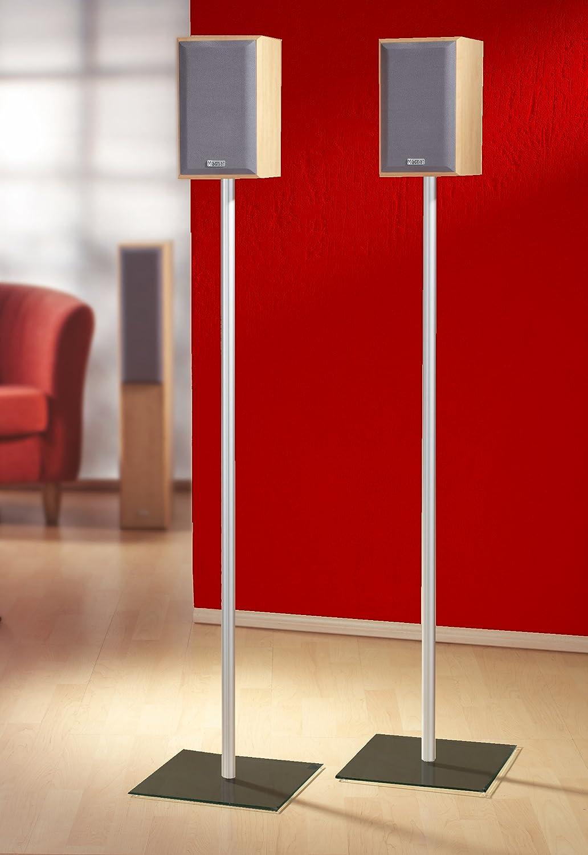 VCM 2x Boxenständer Lautsprecherständer Lautsprecher Boxen Ständer Glas Alu Glas Ständer Standfuss schwarzglas