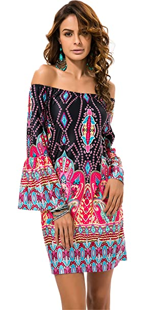 8412b43575a2 Long Sleeve Bell Trumpet Flared Flare Sleeve Off The Shoulder Baroque  Ethnic Tribal African Aztec Mini
