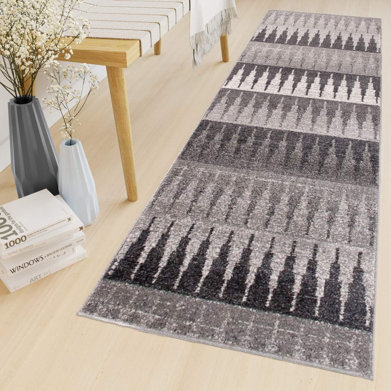 Tapiso Sari Teppich Läufer Meterware Wohnzimmer Schlafzimmer Küche Flur Brücke nach Maß Geometrisch Dreieck Grau Meliert ÖKOTEX 70 x 350 cm