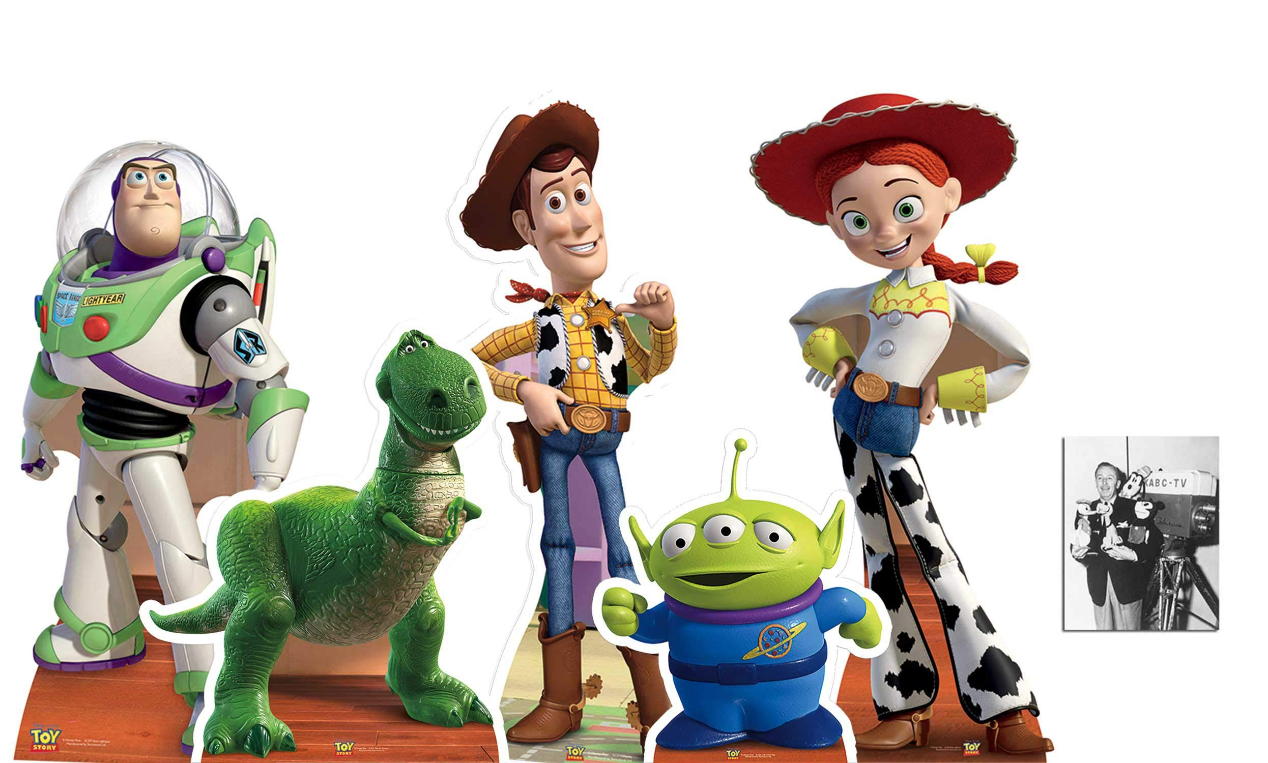 Toy Story Official Cardboard Cutouts/Standups Collection of 5 with Woody, Buzz, Rex, Jessie and Little Green Man. Fan Pack, Includes 8x10 Star Photo