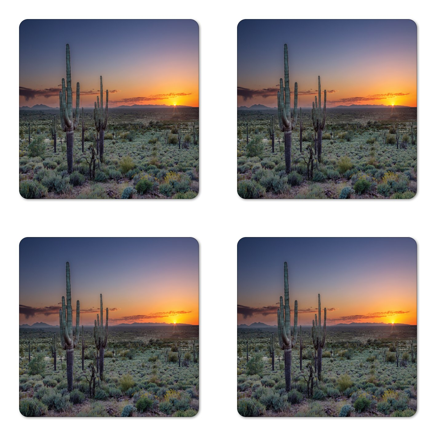 Lunarable Saguaro Coaster Set of Four, Sunset over the Phoenix Valley in Arizona Mountain State Park, Square Hardboard Gloss Coasters for Drinks, Sage Green Orange Night Blue