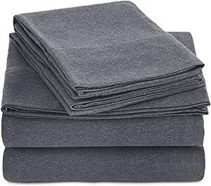 AmazonBasics Heather Cotton Jersey Bed Sheet Set - Twin XL, Dark Grey