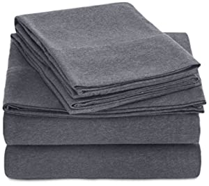 AmazonBasics Heather Jersey Sheet Set - Twin, Dark Gray